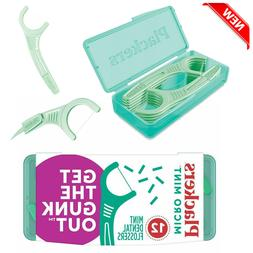 Plackers Micro Mint Dental Floss Picks with Travel Case, 12