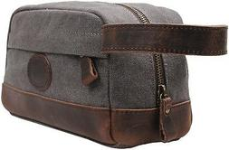 MSG Vintage Leather Canvas Travel Toiletry Bag Shaving Dopp