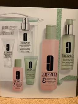 NEW IN BOX CLINIQUE 3-STEP SKIN CARE SYSTEM FULL SIZE & TRAV
