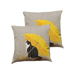 Pillow Case,AutumnFall 43cmX43cm Square 2PCS Cute Cat Patter