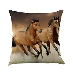 Pillow Case,AutumnFall 45cmX45cm Square Cartoon Animal Horse