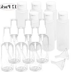 Jalousie 12 Pcs Plastic 2 oz Travel Containers 6 Clear Empty