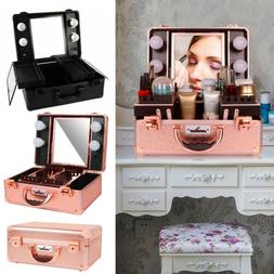 Pro Portable Lighted Cosmetic Make Up Travel Train Case Vani