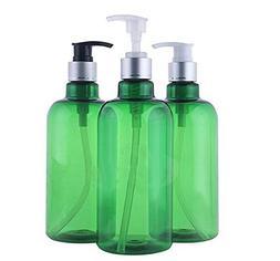 3PCS 500ml/16.6OZ Refillable Empty PET Plastic Green Pump Bo