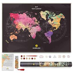 Solareas Scratch Off Map of The World - 33x23 Travel Tracker