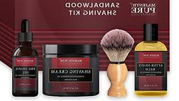 Shaving 4-1 Gift Set Sandalwood Pre Shave Oil Shave Cream Ba
