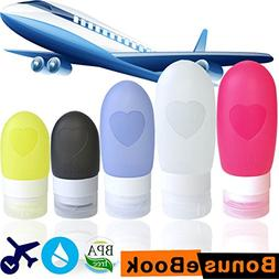 Silicone Travel Bottles - Pack of 5 Squeezable Refillable Tr
