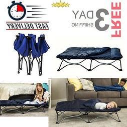 Kids Toddler Cot Bed Deluxe Sleeping Bag Navy Camping Sleep