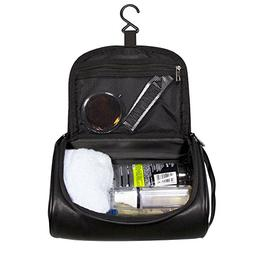Mens Toiletry Bag Leather Shaving Dopp Kit Hanging Travel To