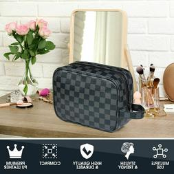Luxouria Travel Checkered Makeup Bag Men Women, Luxury Cosme