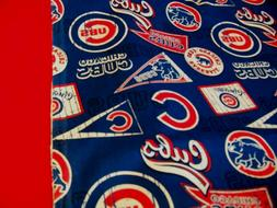 TRAVEL SIZE PILLOW CASE 2 SIDED CHICAGO CUBS/ RED CUFF #9740
