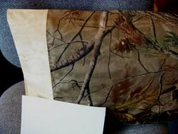 TRAVEL SIZE PILLOW CASE TREE & LEAVES ON BROWN/CUFF TAN  TON