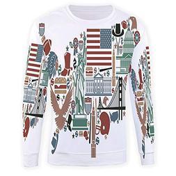 Unisex Fashion 3D Digital Printed Pullover Hoodies,Map,
