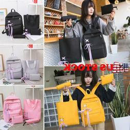 US 4pcs/Set Backpack Women Canvas Travel Bookbags School Bag