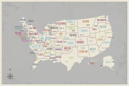 USA Wall Map Art Print, 16x20 Inch Print,Kid's USA Wall Map,