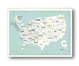 USA Wall Map Art Print, 18x24 Inch Print,kid's USA Wall Map,