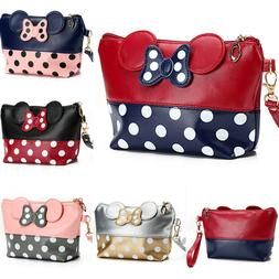 Cute MINNIE MICKEY MOUSE Polka Dots Travel Cosmetic Bag Case