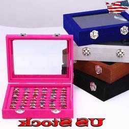 Women Travel Jewelry Box Ring Display Case Storage Flannel T